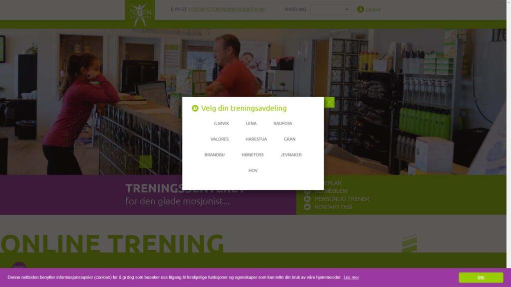"""Gå til www.totentreningssenter.no – Velg avdeling – Logg inn på """"Min Side"""""""