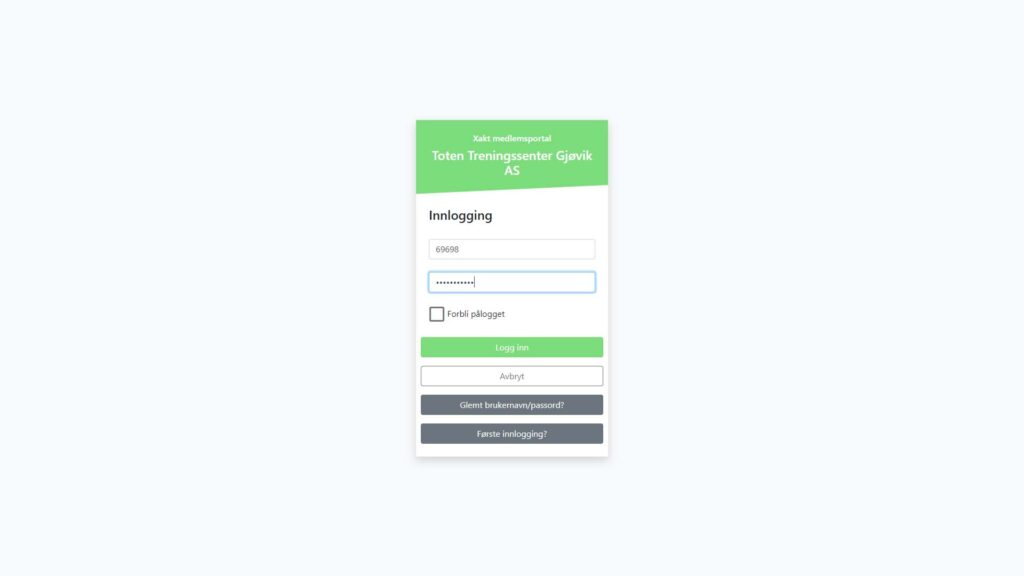 Logg inn med medlemsnummer og ditt passord.