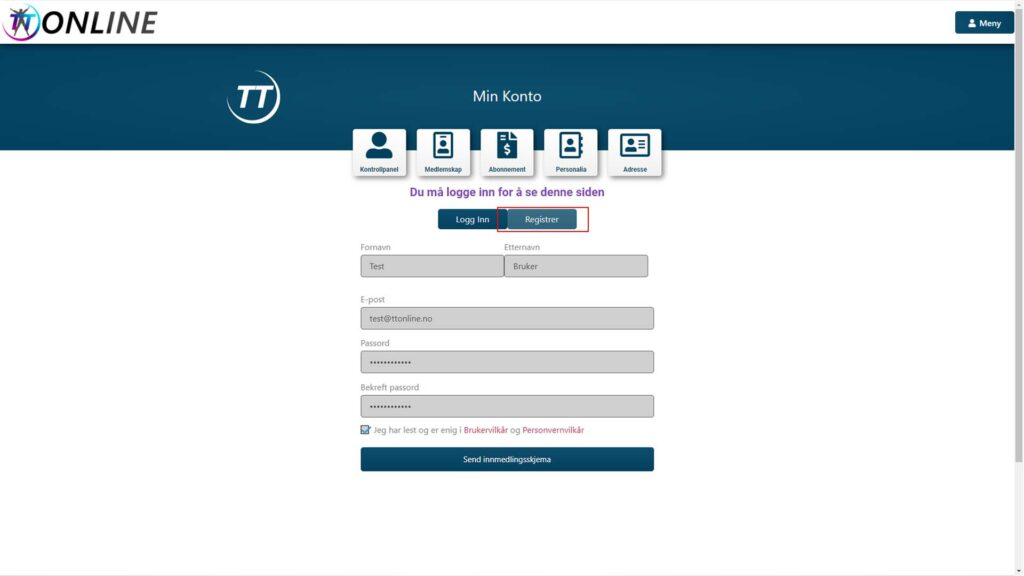 """Fyll inn informasjonen og les/godkjenn brukervillkår og personvernvilkårene. Trykk på """"Send innmeldingsskjema"""""""