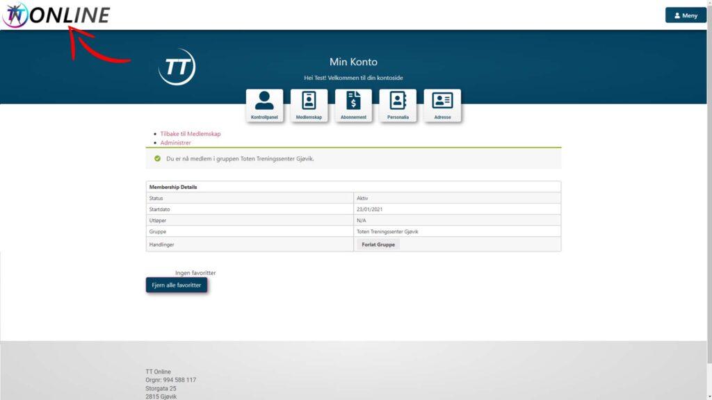 Trykk på TT Online logoen for å komme til forsiden